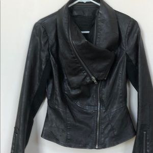Faux Leather Black Bomber Jacket